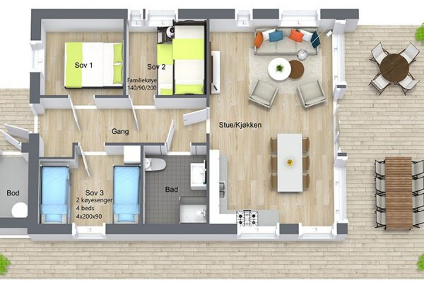 Rorbuer-Leka-Brygge---Planløsning-rorbuer---3D-Floor-Pla-n--inntegnet-sengeplasser